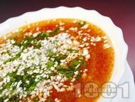 Постна градинарска зеленчукова супа (чорба) със зеле, картофи, зелен боб, грах, царевица и чушки